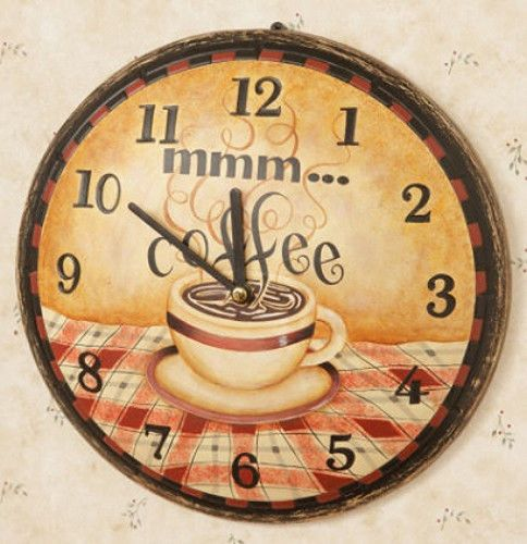 New Country Primitive Shabby COFFEE CLOCK Mmm Cafe Wood Wall Sign ...