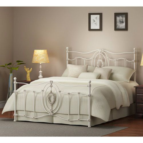 Antique White Victorian Iron Metal Bed Frame King Size Bedroom