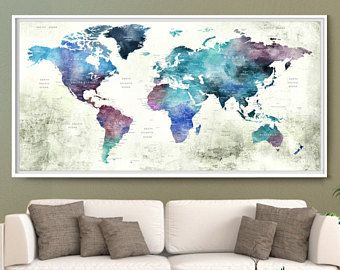 Large travel poster wall art blue watercolor world map push pin large travel poster wall art blue watercolor world map push pin print travel world gumiabroncs Image collections