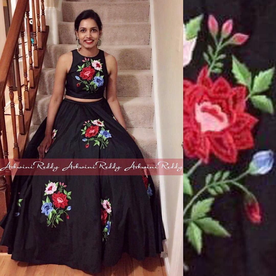 Beautiful black color lehenga and cropt top with hand embroidery floret design thread work from Ashwini Reddy.