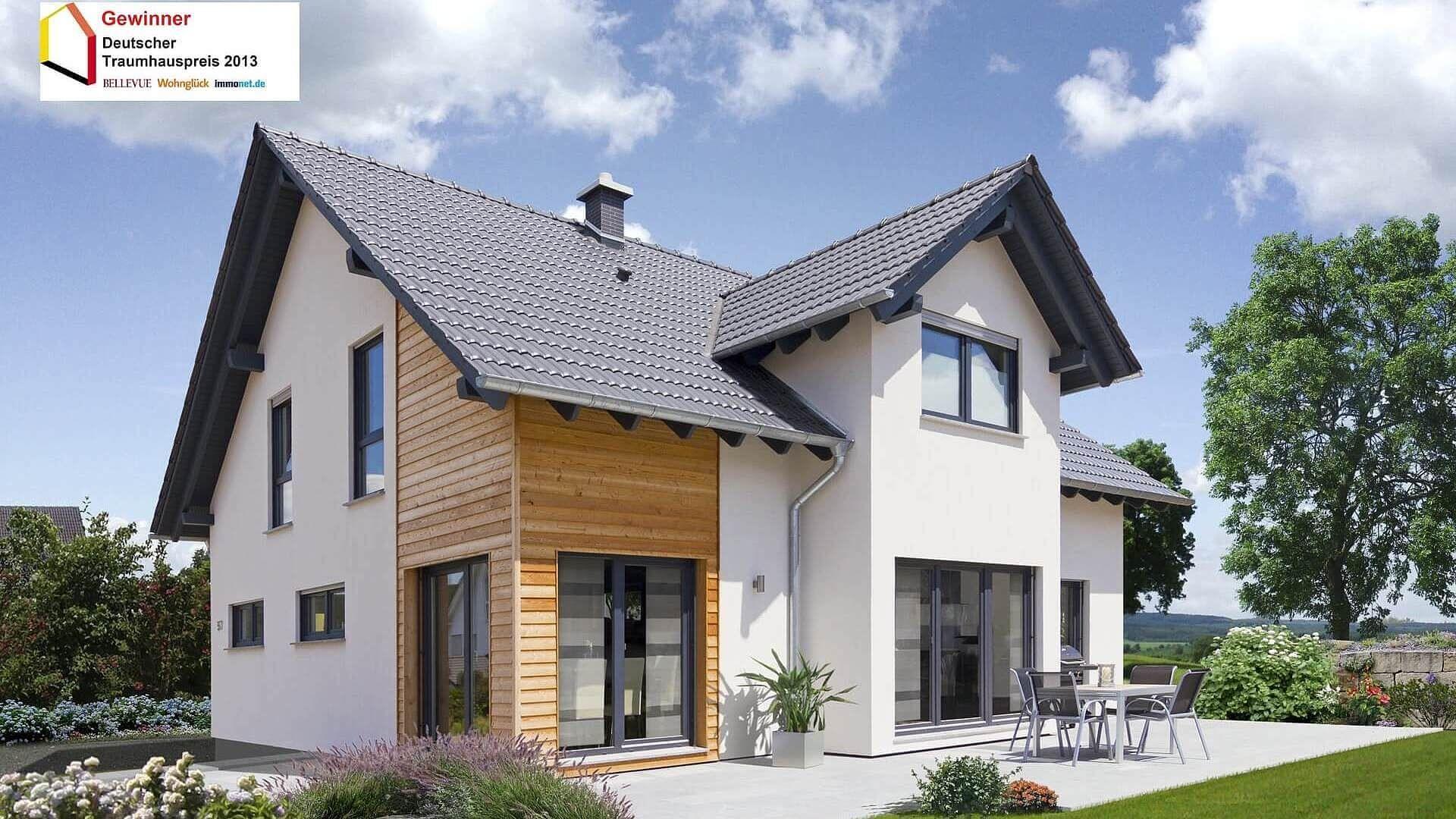 Fingerhut Einfamilienhaus schwarzes Satteldach weiß