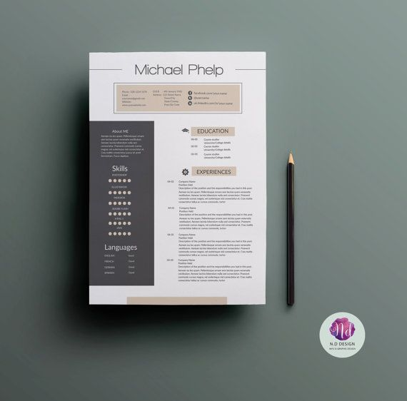 Modern Resume Design Modern Resume Template  Cv Template Coverchictemplates