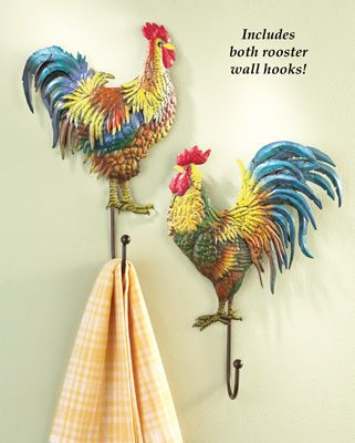 Set Of 2 Country Rooster Wall Hooks Rooster Decor Rooster