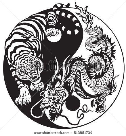 Dragon And Tiger Yin Yang Symbol Of Harmony And Balance Black And