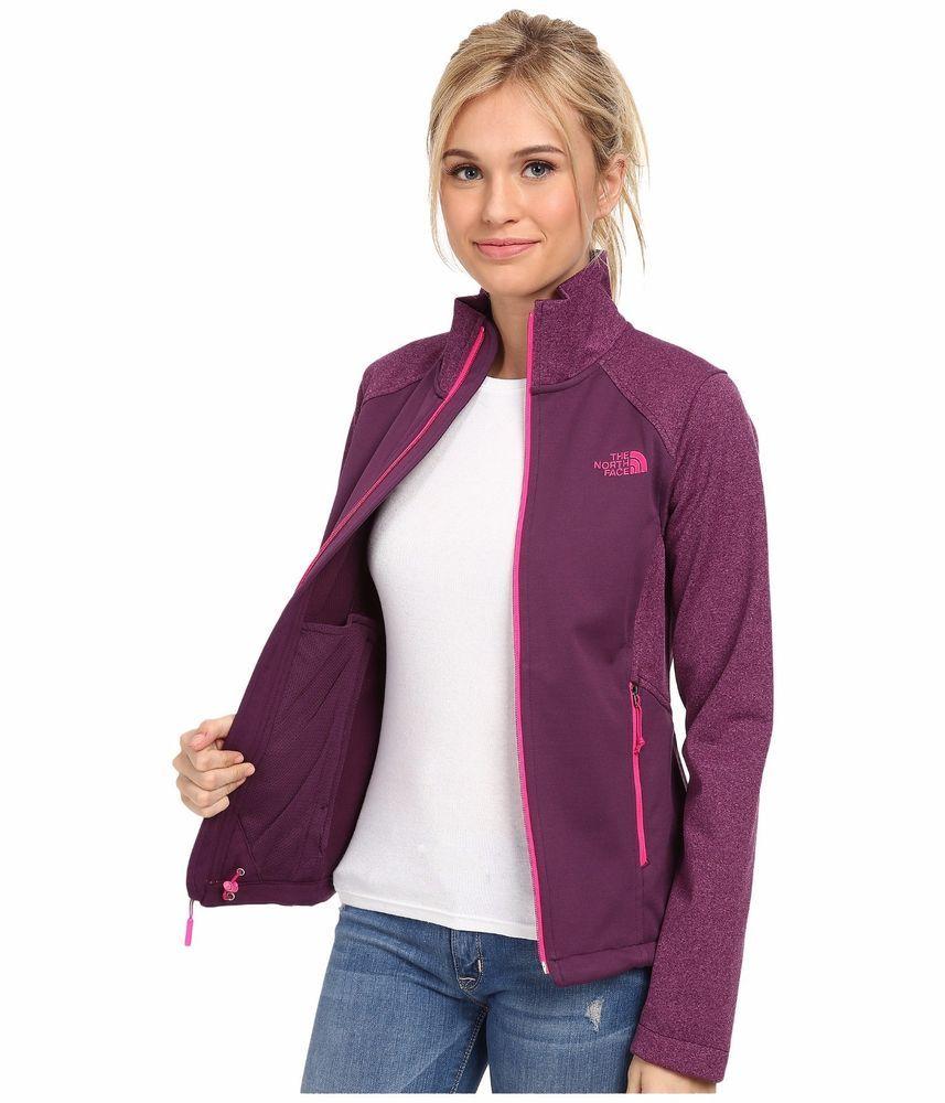 f1742e08b7f4 Womens The North Face Jacket Canyonwall Soft Shell Fleece Zip Coat Purple S  M XL  TheNorthFace  Softshell