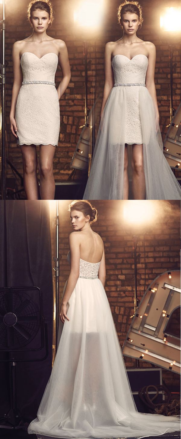 Chic Tulle & Lace Sweetheart Neckline 2 In 1 Wedding Dresses With ...