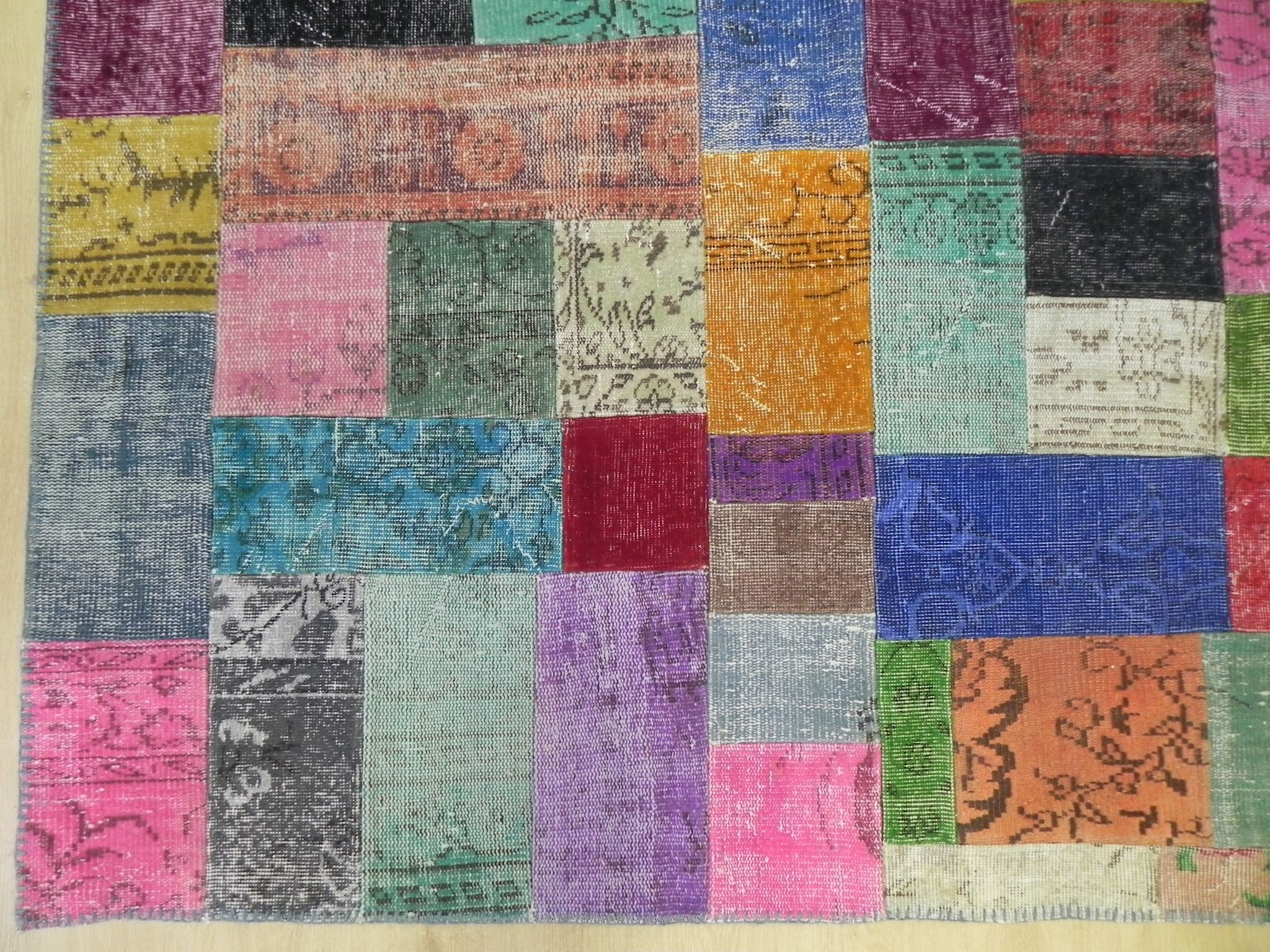 Multicolor Patchwork Rug With Small Patches, Handmade From Vintage ...