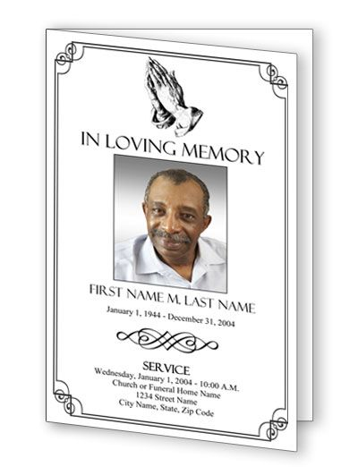 Praying Hands Funeral Program Template This Is A Traditional