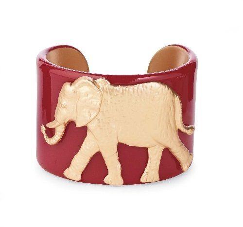 College Days Mascot Medallion Cuff Burgundy Elephant Women's Fashion Braclets by Mud pie