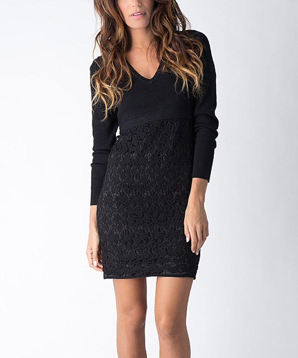 V neck black lace dress  Look at this Yuka Paris Black Lace VNeck Dress on zulily today