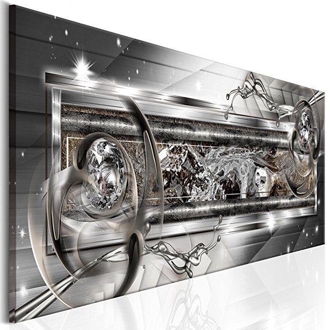 decomonkey Akustikbild Abstrakt 120x40 cm Leinwand 1 Teilig - wohnzimmer bilder abstrakt