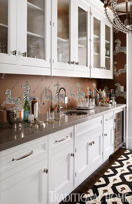 wallpaper kitchen backsplash hampton designer showhouse 2013 zebra wallpaper pantry 3325