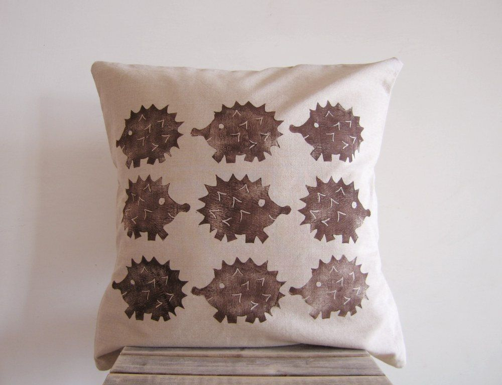 Hedgehog Throw Pillow / Cushion   Hedgehog Print In Chocolate Brown On  Beige Organic Cotton.