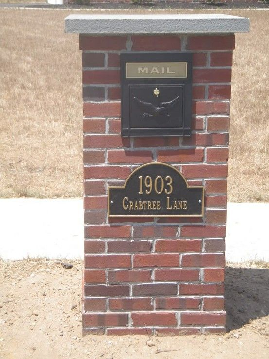 A Custom Brick Mailbox With A Thermal Bluestone Cap Brick Work - Brick column lit by flush mounted core drilled well light