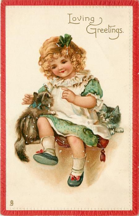 Girl with kittens postcard, 1910