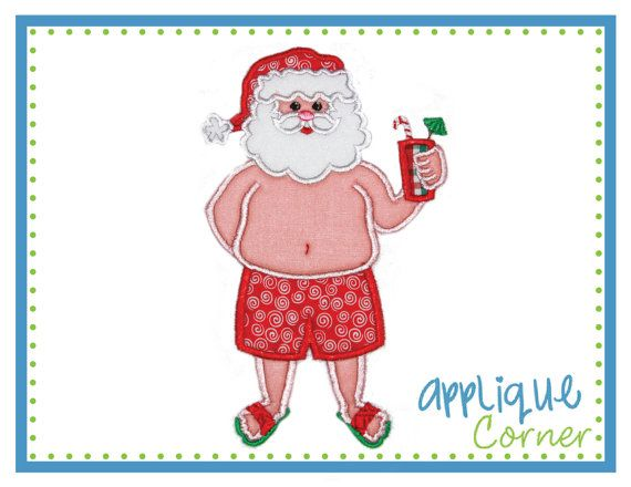 842 Christmas Santa on Vacation at the Beach applique design in digital format for embroidery machine by Applique Corner
