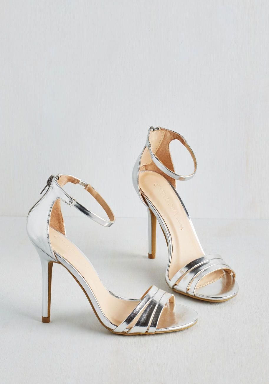 3c4b03f9f28 Sought-After Sophistication Heel in Silver. Set a new standard for elegant  attire with these silver heels!  silver  prom  modcloth  Promheels