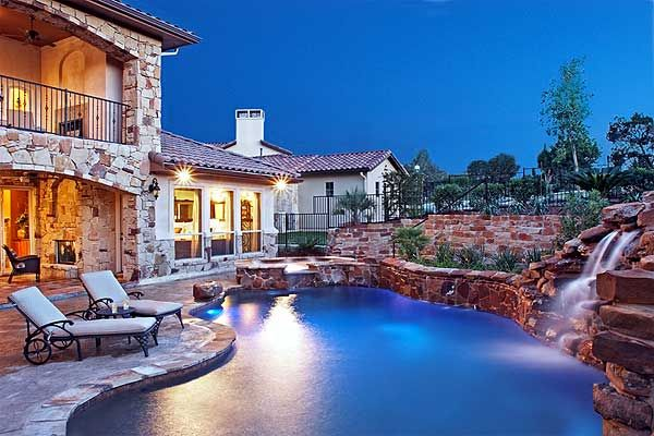 Plan 36800JG Casita With Great Outdoor Spaces Pool waterfall