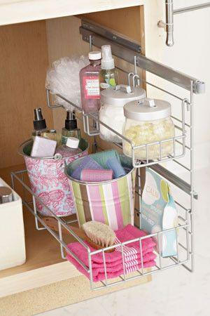 organized bathroom could use the pull-out shelves made for kitchens