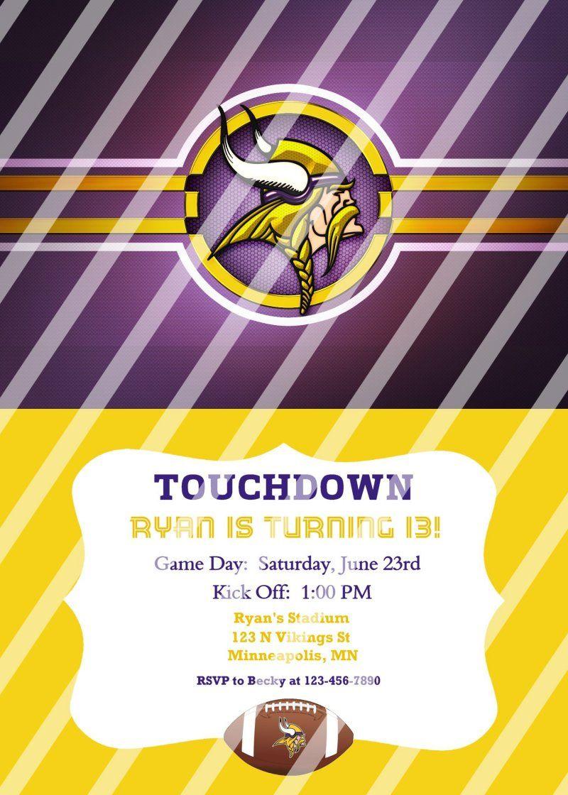 Minnesota Vikings Personalized Party Invitation #40 (digital file ...