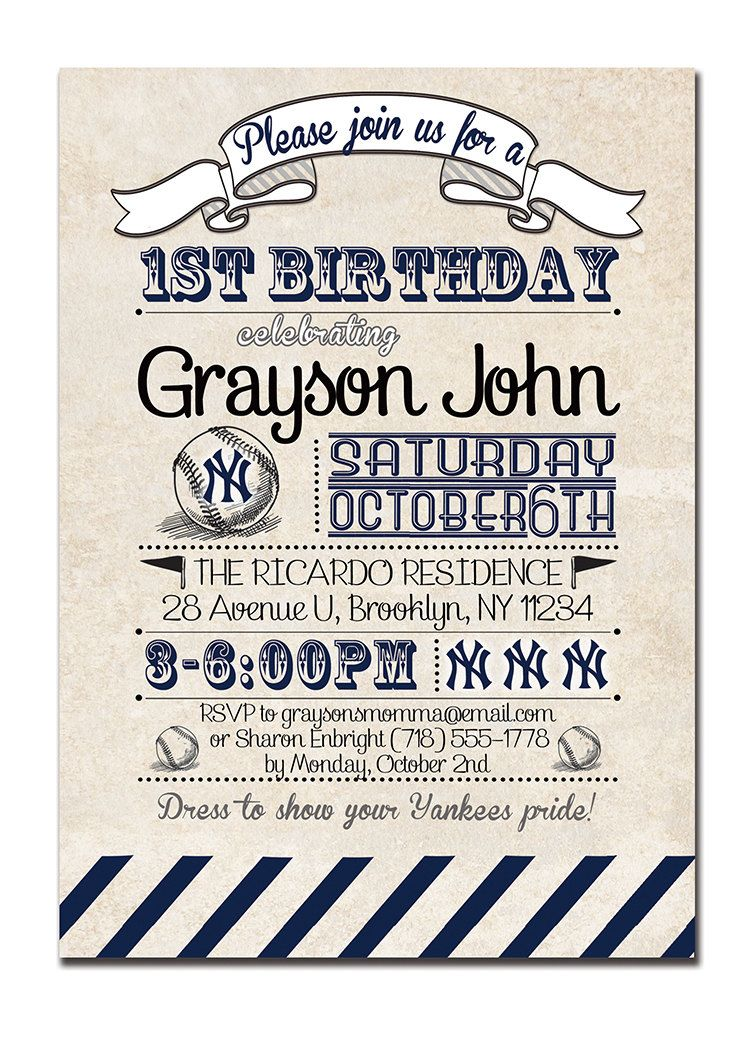 Yankees Birthday Invitation 1st Birthday Baseball Invitation Vintage ...