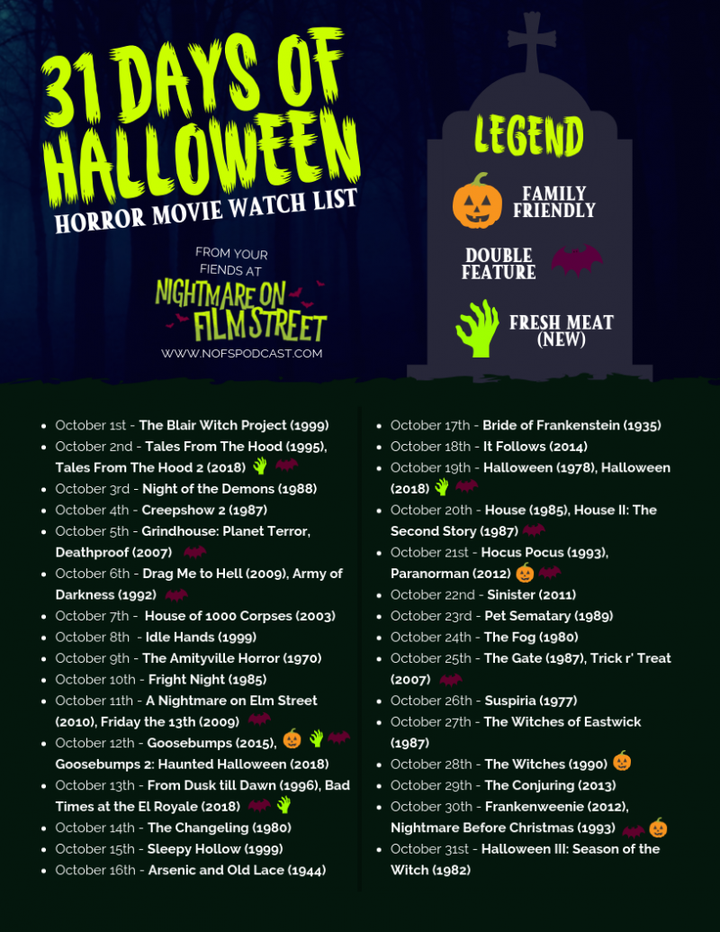 31 Days Of Halloween 2020 31 DAYS OF HALLOWEEN 2018 – Horror Movie Marathon List [PRINTABLE