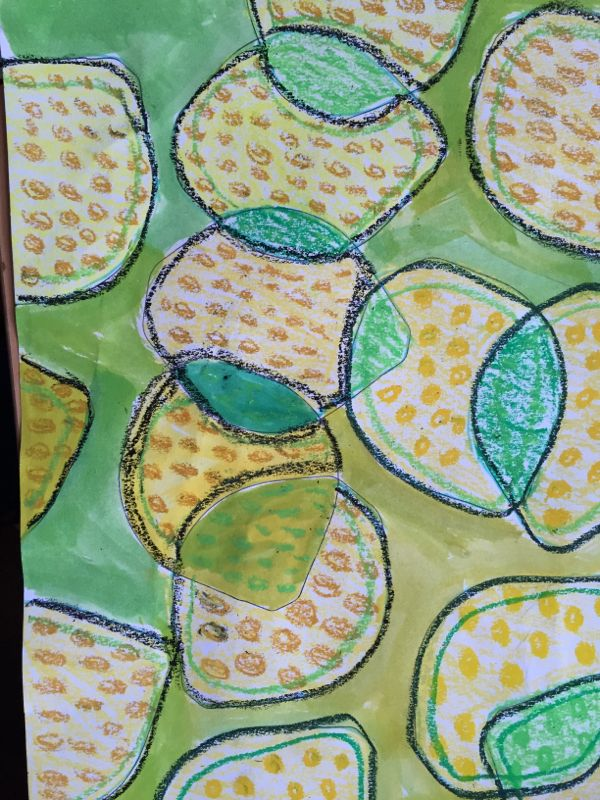 Doodling lemons and limes, by drawing round a plastic lid, part of a series of…