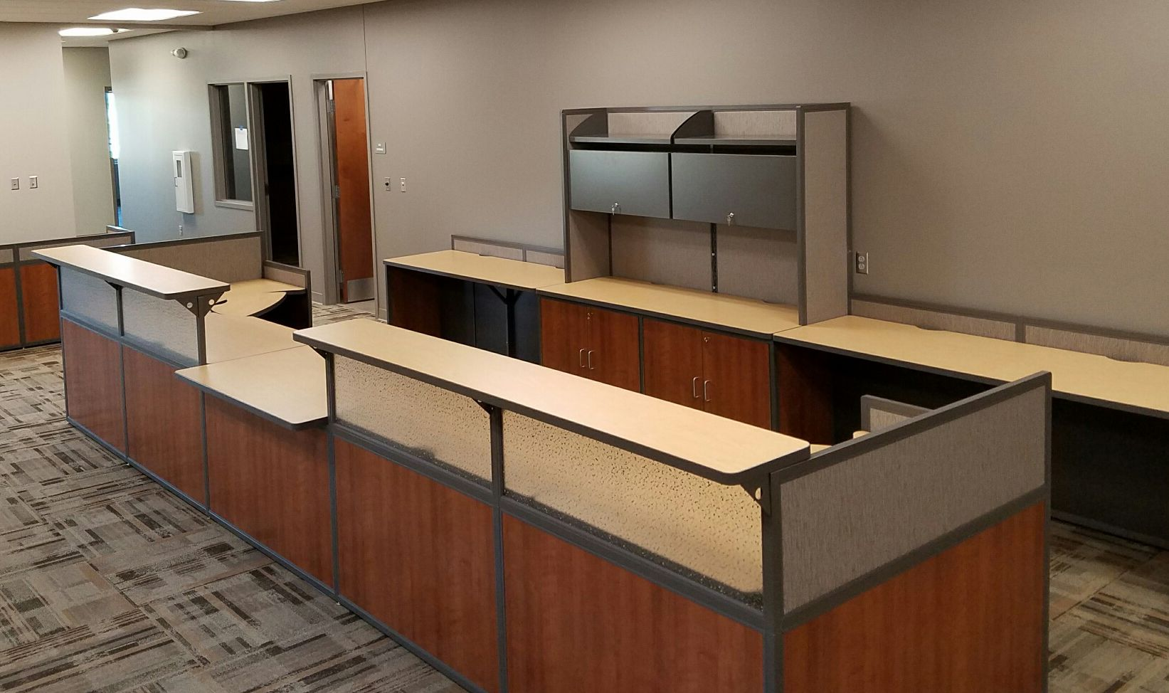 Custom Reception Desk For A School District In Ia Featuring An Ada Accessible Counter Office Reception Desk Designs Reception Desk Custom Reception Desk