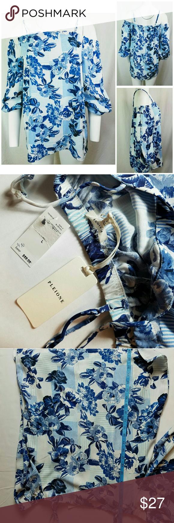 5d6c928e0bb52a PLEIONE Sz L Blouse Cold Shoulder Blue Floral Gorgeous Women s Pleione Cold  Shoulder Blouse - Size L - White with a variety of blue tones in a large  flower ...