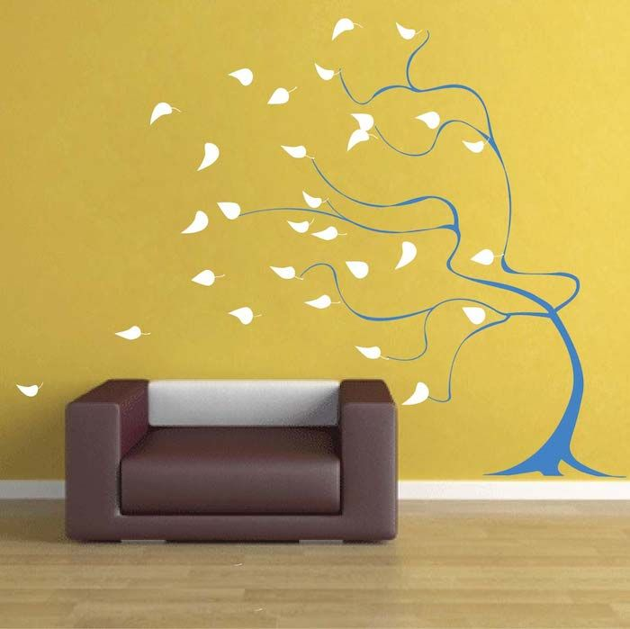 Blowing Tree Wall Mural Decal Sticker Design Tree Mural Breezy