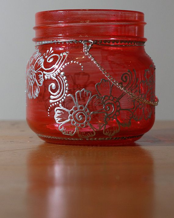 On Sale Asiya Mason Jar Lantern With Silver Henna Detail In Pepper