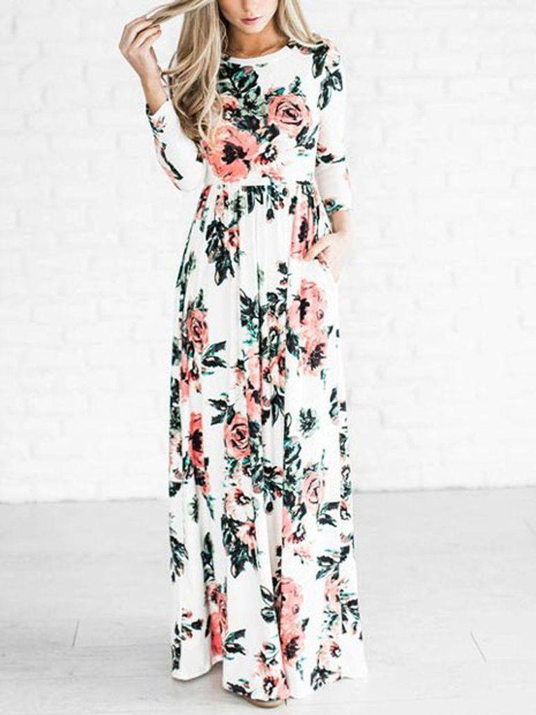 White floral long sleeve maxi dress buyable pinterest long