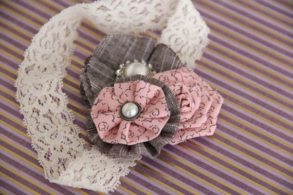 Baby Pink Gray Ivory Cream Lacey Flower by AshleyJadeCreations