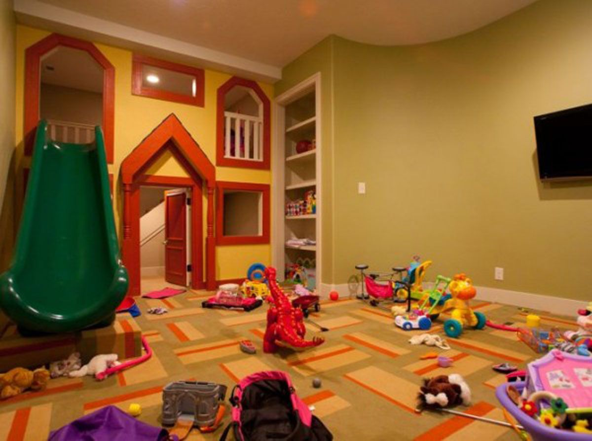 I like the indoor slide and two-story playroom idea!