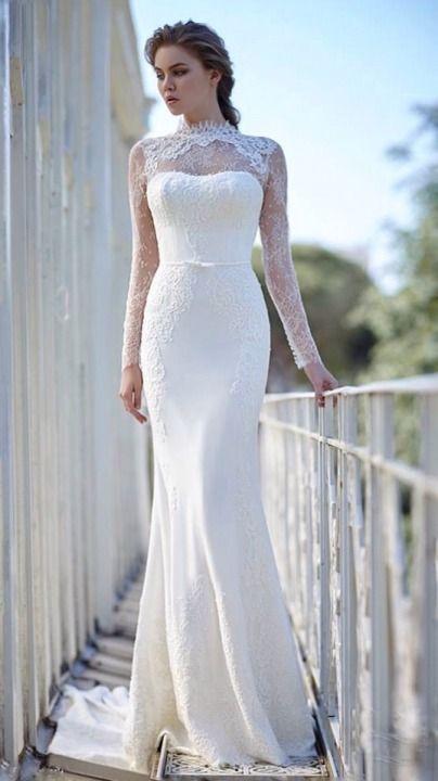 Sheath Illusion Sheer And Sleeves Wedding Dress M 1916 Vintage Gelinlikler Beyaz Dugun Elbiseleri Sade Gelinlikler