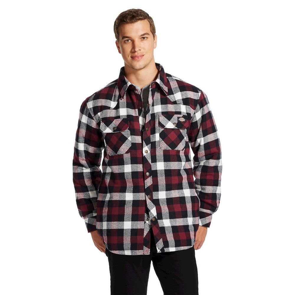 Big flannel outfits  Dickies Menus Big u Tall Quilted Lined Plaid Overshirt Wine Red