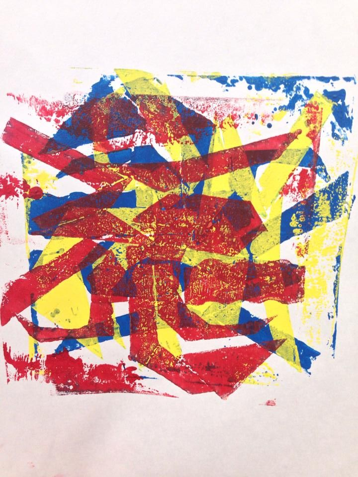 Collagraph printmaking with cardboard - middle school/elementary project. layer cardboard and layers of primary colors