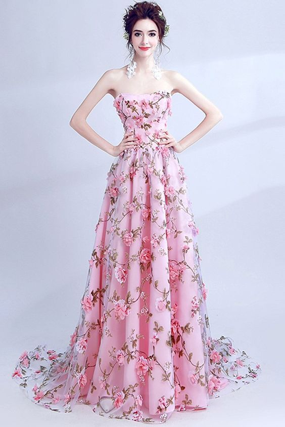 0020df2af499 Cheap Pink Prom Dresses ,A-line Strapless Evening Dress, 3D Floral Long  Prom Dress ,Elegant Party Dress