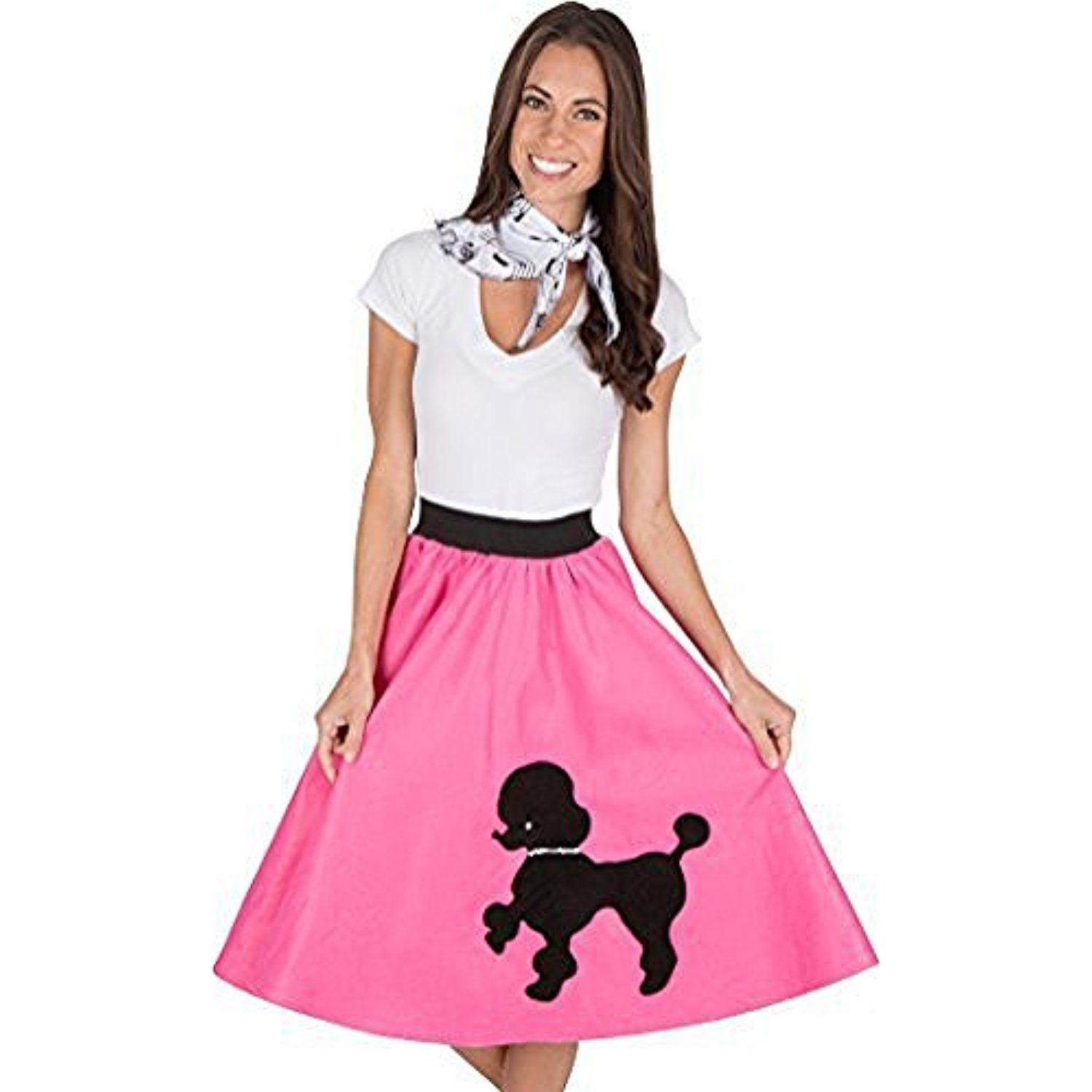 Adult Poodle Skirt with Musical Note printed Scarf Hot Pink by ...