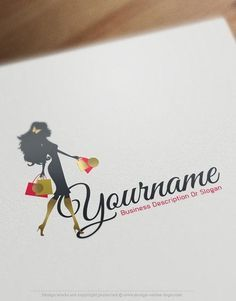 Exclusive design shopping girl logo free business card free ready made logo design template with a model woman wearing a sexy dress and doing shopping reheart Image collections