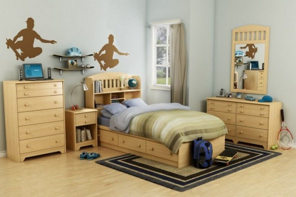 Teen Room Sports Themed Teenage Boys Bedrooms Design With Plywood Platform Bed Storage And