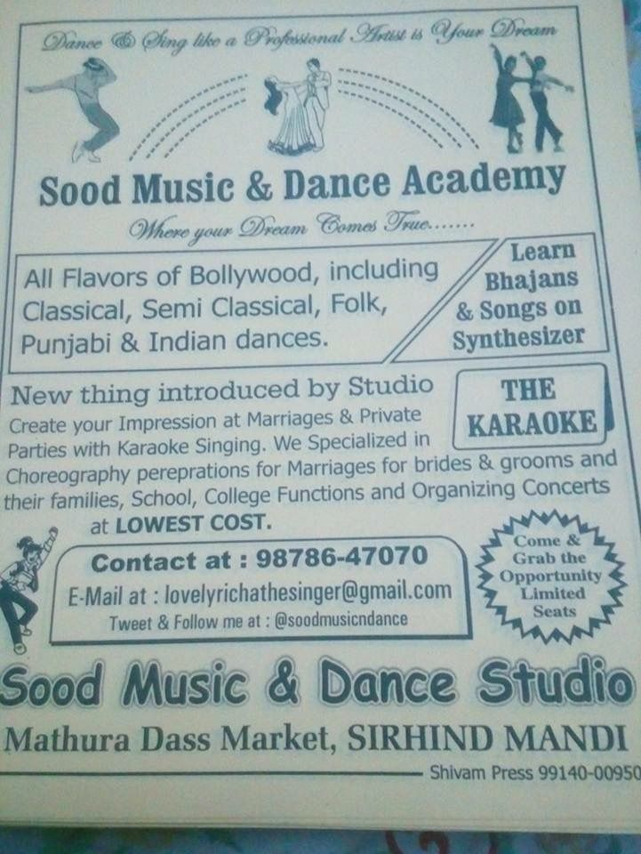 My academy recent pamphlet for advertisement | Sood music n dance ...