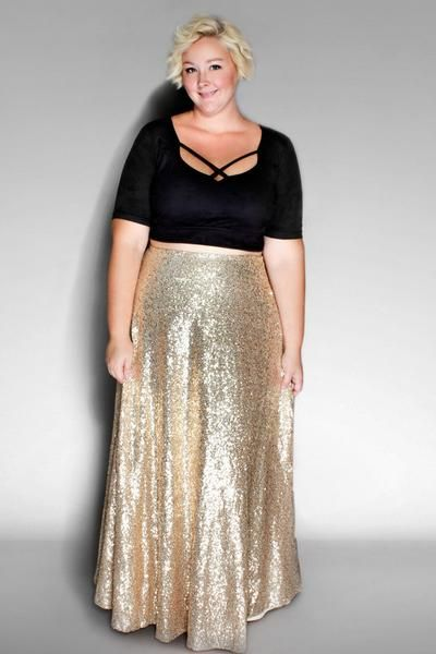 c11444dae The Showstopper Sequin Maxi Skirt – Gold | plus size outfits ...
