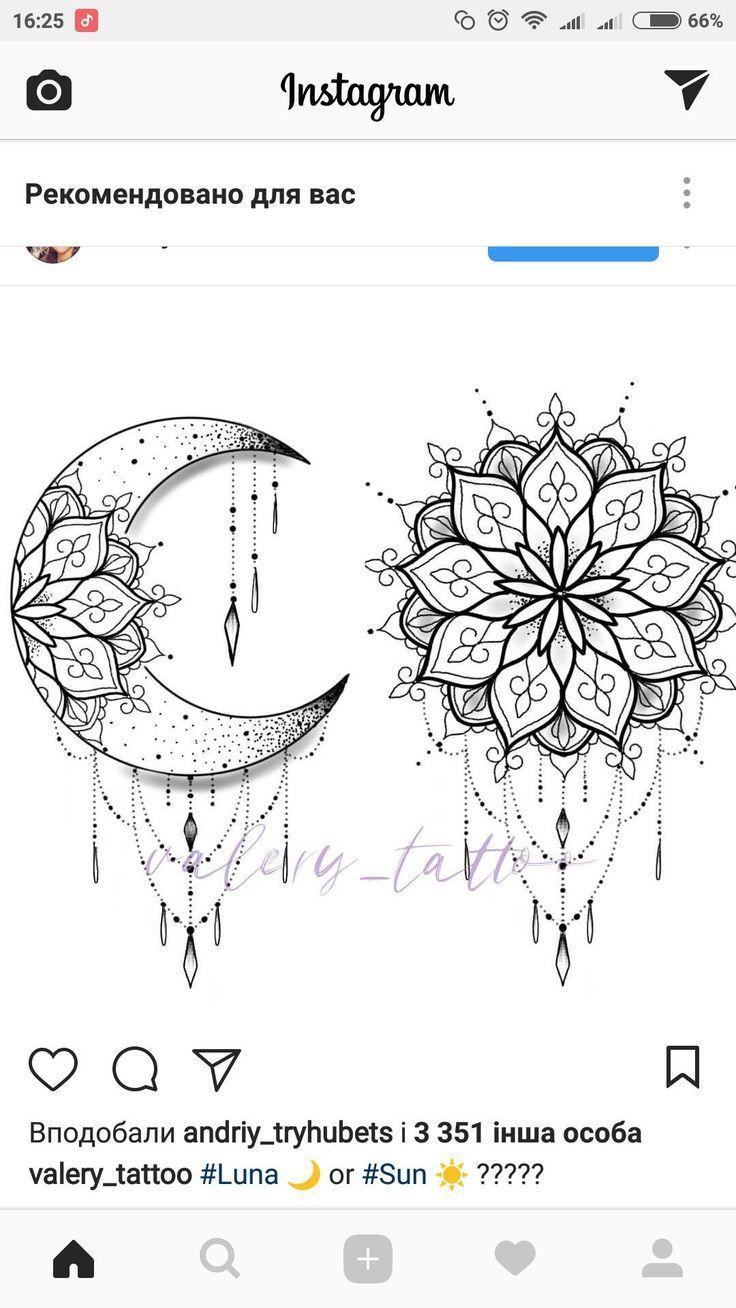 Beste 12 Lotus mit Sonne und Mond Tattoo und Schablone  Instant Digital Download…