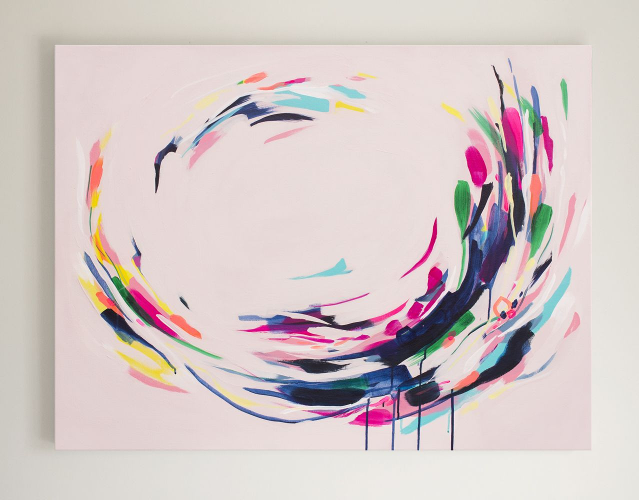 Dusty pink with floral sweeping lines in contemporary colours electric available in june at the nz art show