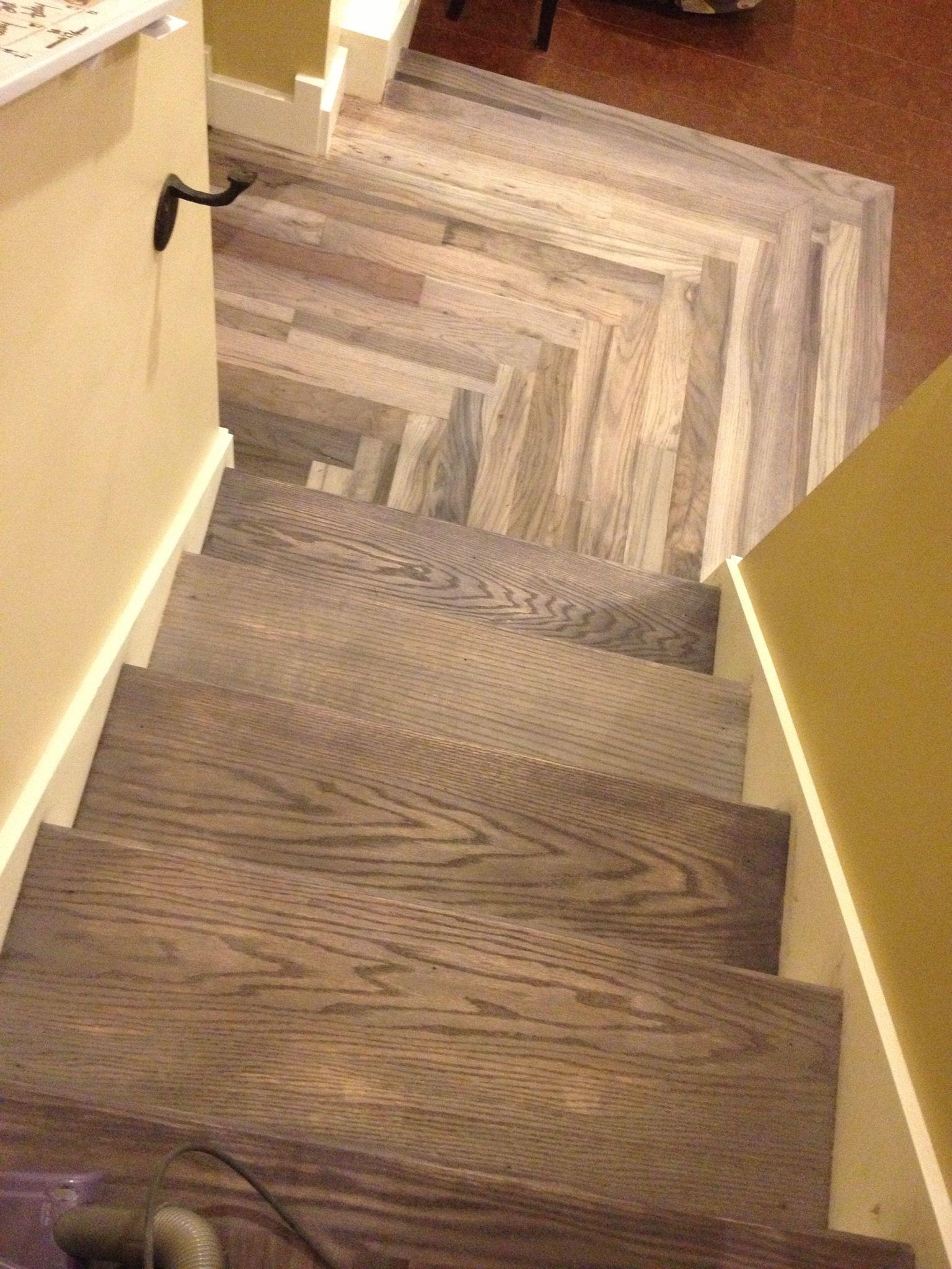 Stained oak stairs with apple cider vinegar and steel wool for Hardwood floors vinegar