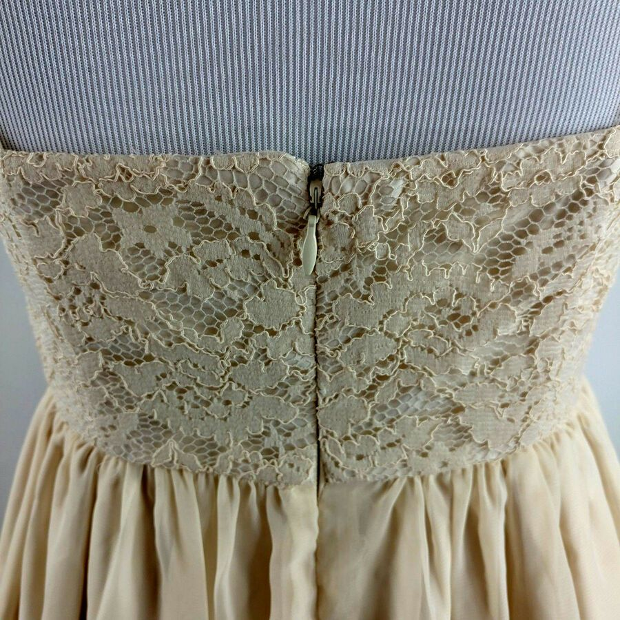 ef3ccd0def TEVOLIO Women s Lace Overlay A-Line Corset Bridesmaid Maxi Dress Size 4  Beige  Lace
