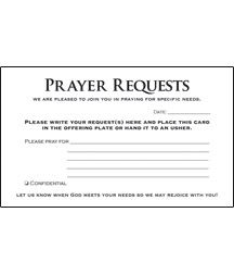 Prayer Card  Prayer Requests Pkg   Christian Church Supplies