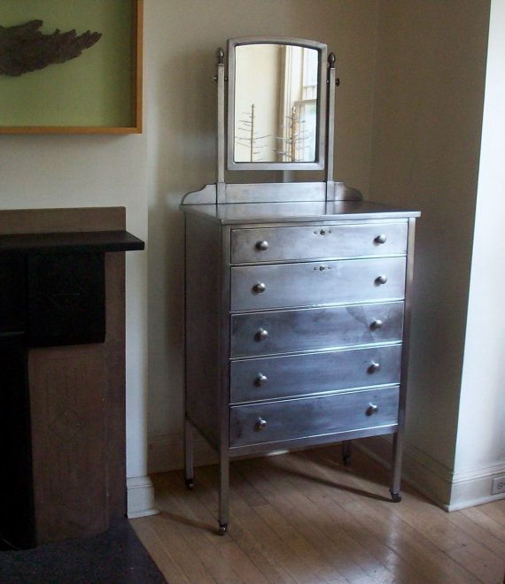 Vintage Metal Dresser With Tilting Mirror 5 Drawer Legs On Steel Casters