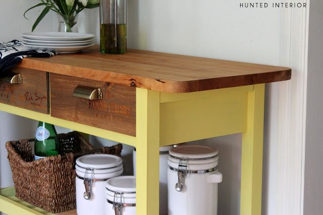 This lovely FÖRHÖJA kitchen cart upgrade was made with wine crate drawer fronts and a wonderful splash of yellow
